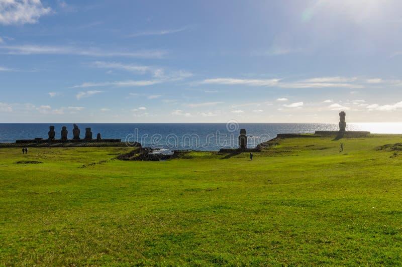 Moai小组在Ahu Tahai,复活节岛,智利 免版税库存图片