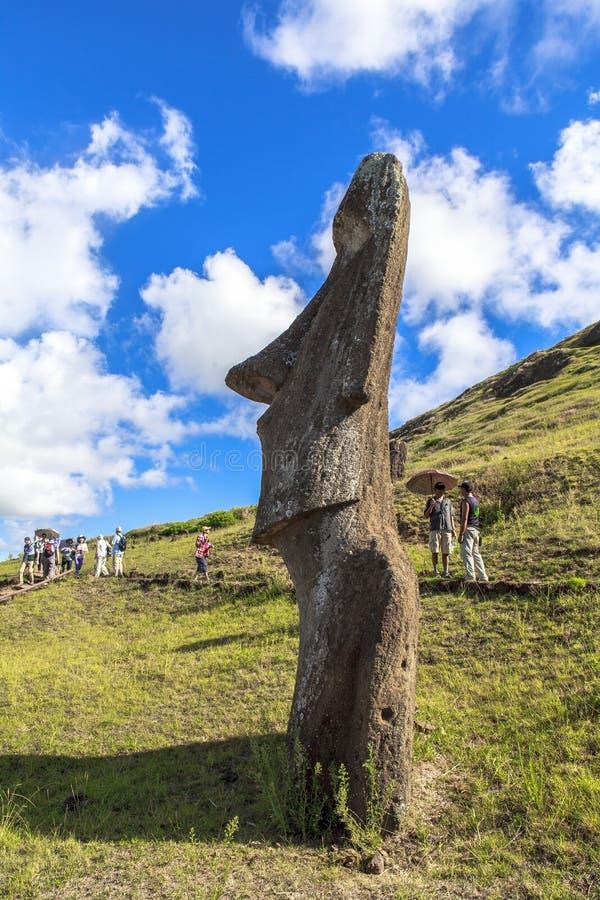 Moai雕象在复活节岛,智利 免版税库存照片