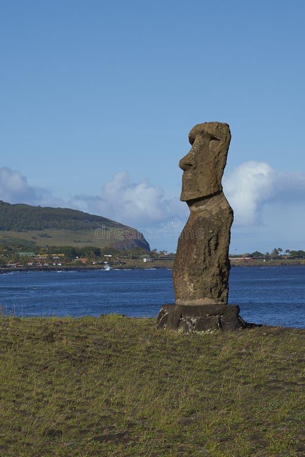 Moai雕象,复活节岛,智利 免版税库存图片