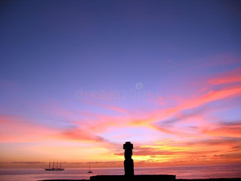 moai острова пасхи стоковые фотографии rf