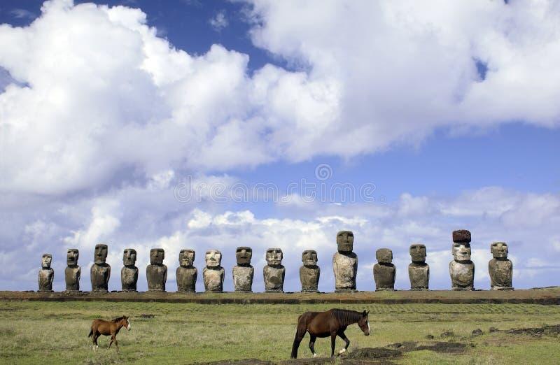 moai острова Чили пасхи стоковое изображение