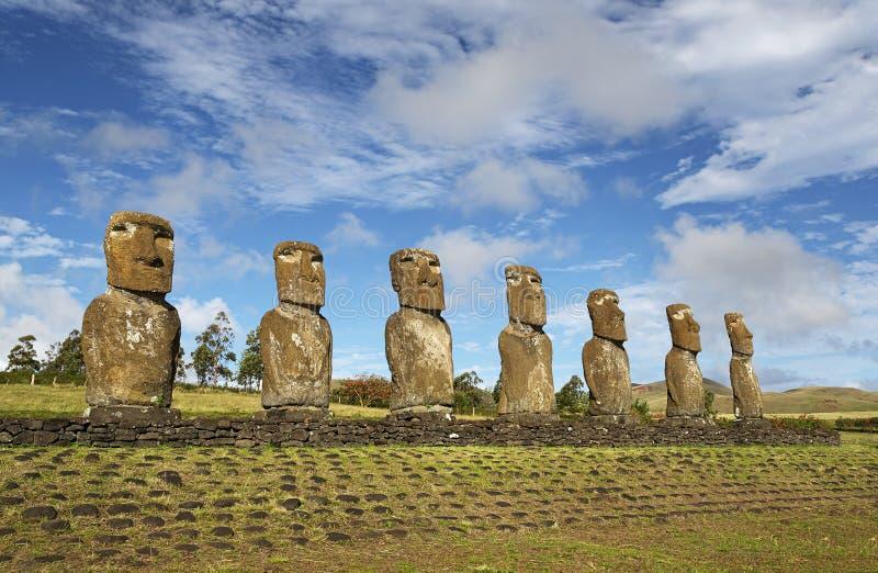Moai, Ahu Akivi royalty-vrije stock afbeelding