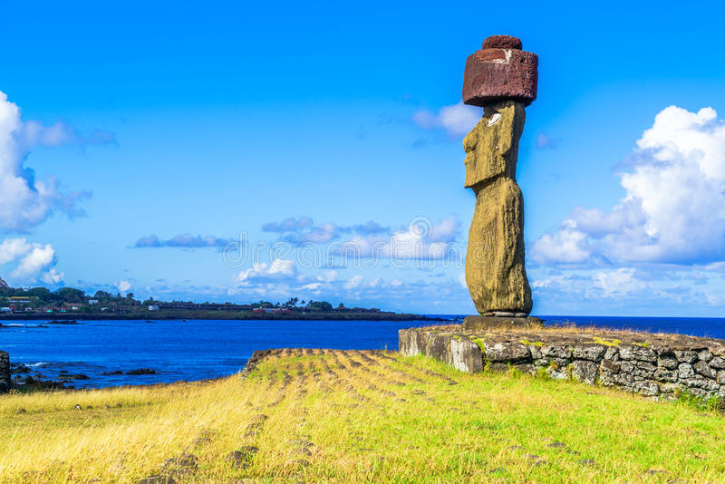 Moai at Ahu Ko Te Riku royalty free stock photography