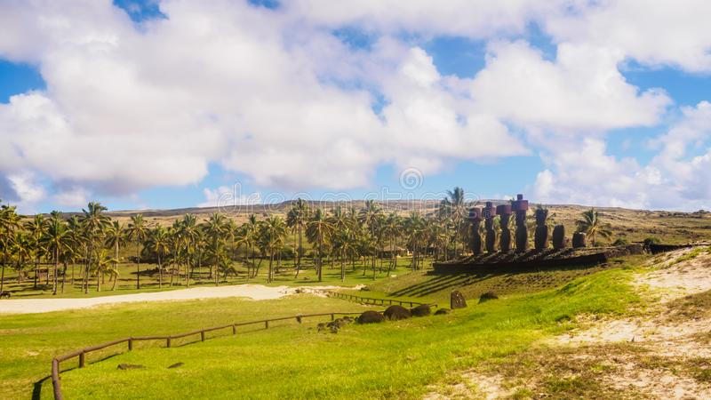 Moai of Ahu Nau Nau on the beach of Anakena on Easter Island. Rapa Nui. Culture Chile stock photo