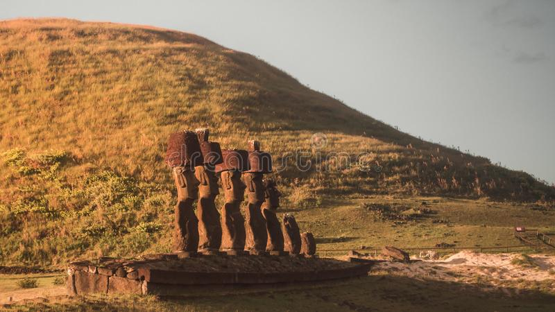 Moai of Ahu Nau Nau on the beach of Anakena on Easter Island. Rapa Nui. Culture Chile stock images