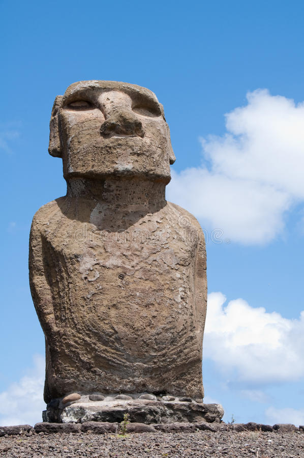 Moai in Ahu Tongariki (Easter island, Chile) royalty free stock photos