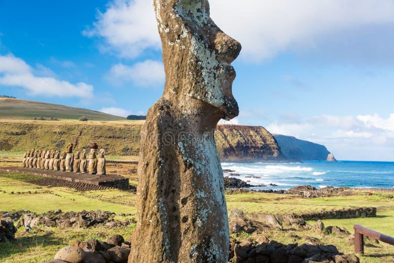Moai at Ahu Tongariki royalty free stock image