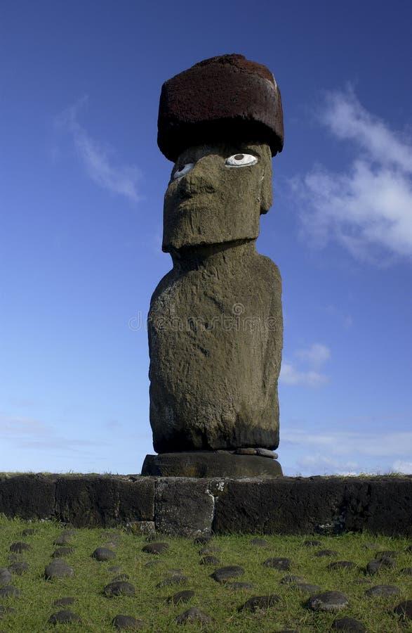 Moai auf Ostern-Insel - der Pazifische Ozean lizenzfreie stockfotografie