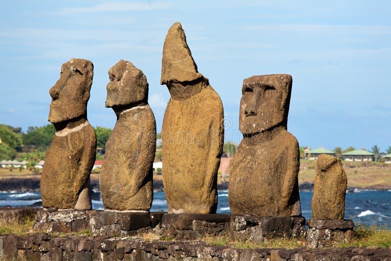 Moai bij Pasen eiland stock foto
