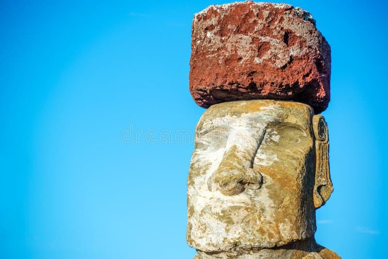 Moai Closeup. Closeup of a Moai on Easter Island wearing a pukao, or topknot royalty free stock image