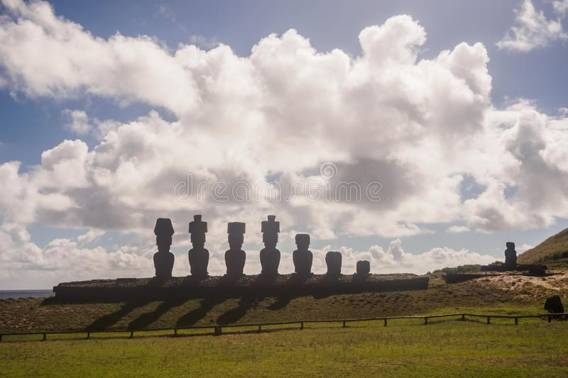 Moai de Ahu Nau Nau on the beach of Anakena on Easter Island. Rapa Nui. Culture Chile royalty free stock images