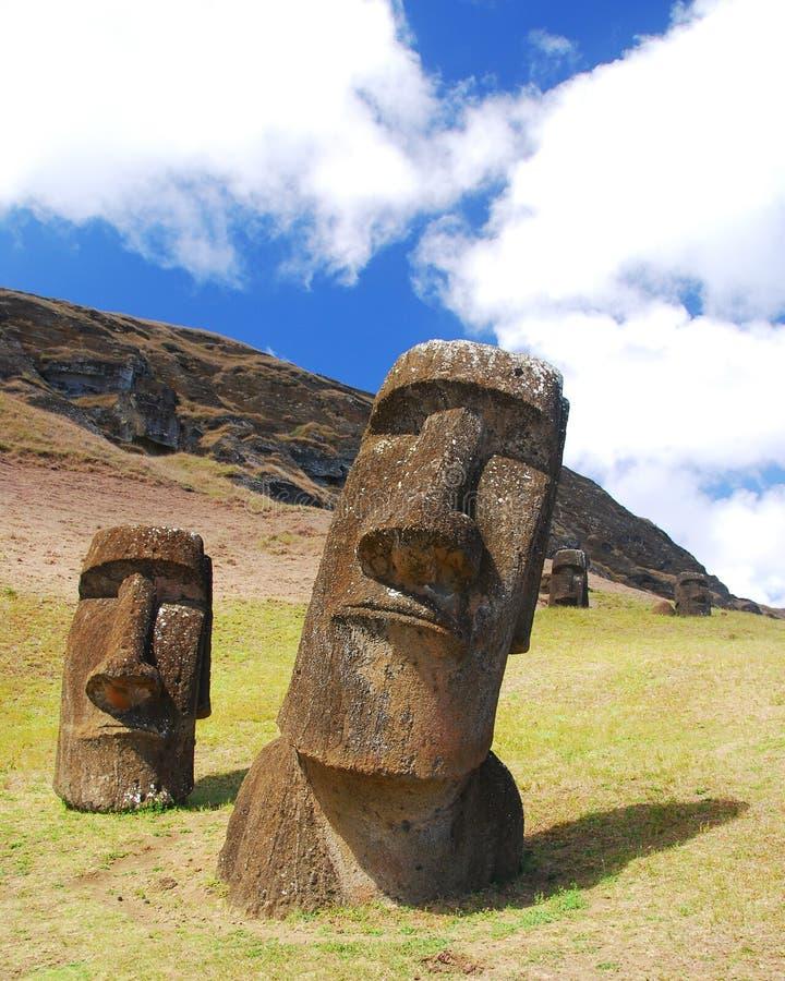 Moai de Rano Raraku foto de archivo