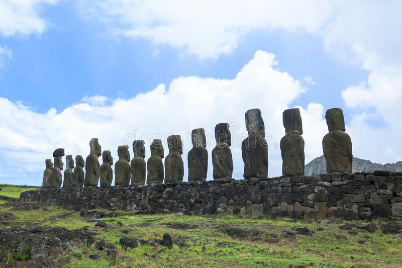 MOAI IN DER OSTERINSEL, CHILE lizenzfreie stockbilder