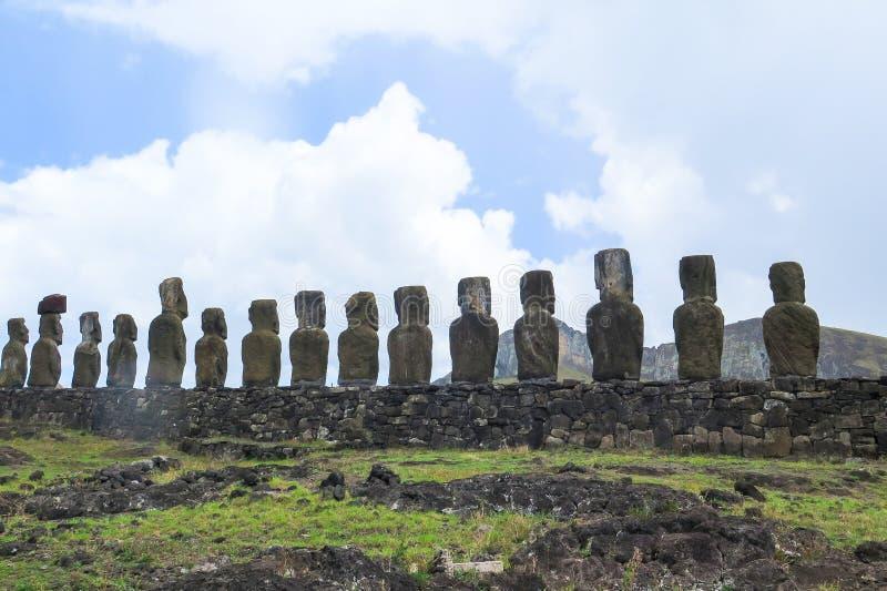 MOAI IN DER OSTERINSEL, CHILE stockbild