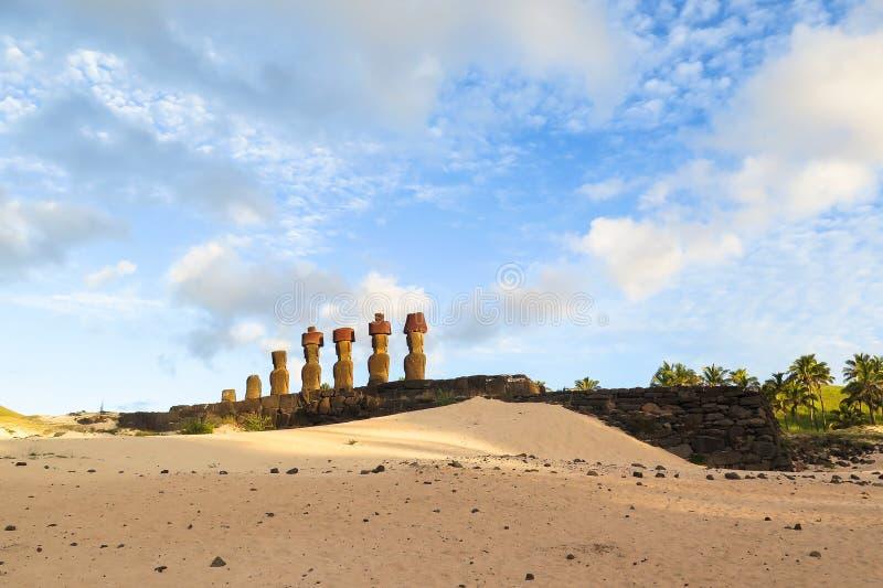 MOAI IN DER OSTERINSEL, CHILE stockbilder