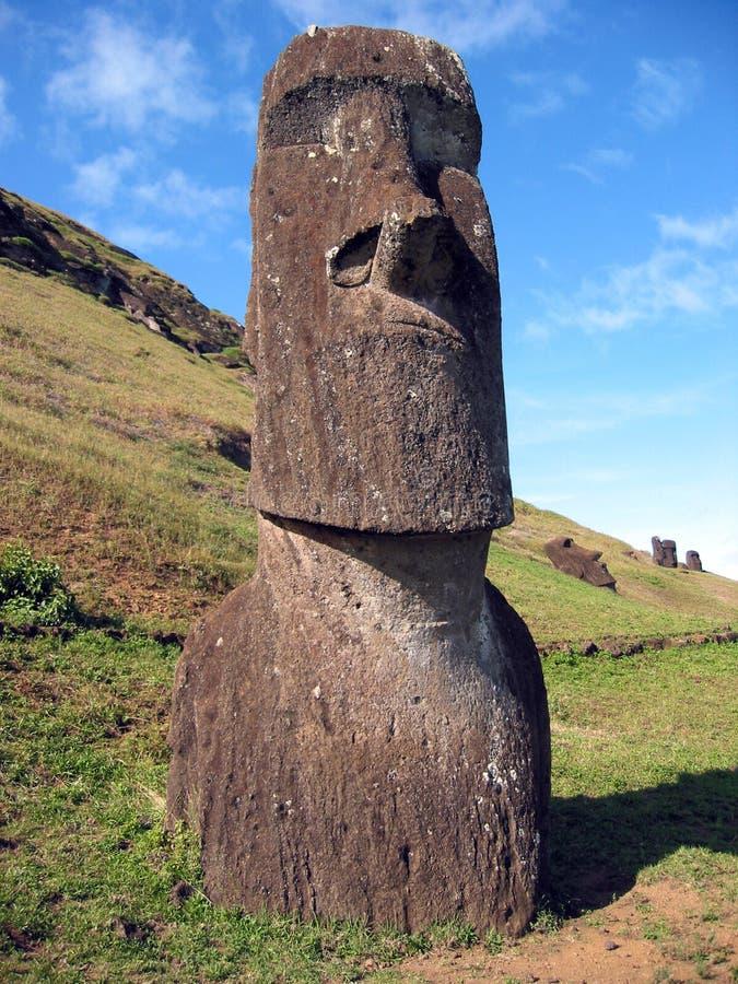 Moai of Easter Island. Moai on the slope of Rano Raraku vulcano royalty free stock photos