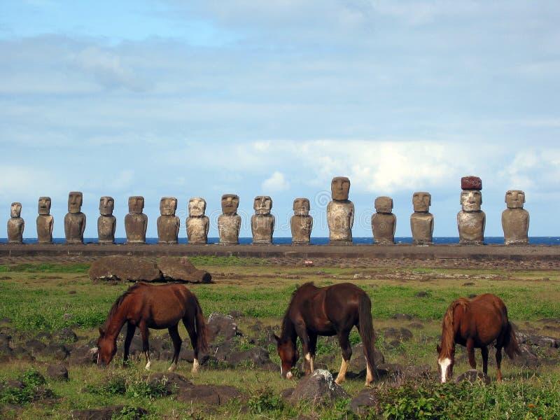 Moai of Easter Island royalty free stock photos