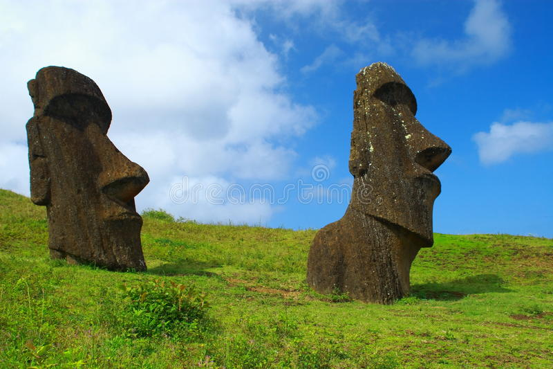 Moai on Easter Island royalty free stock images