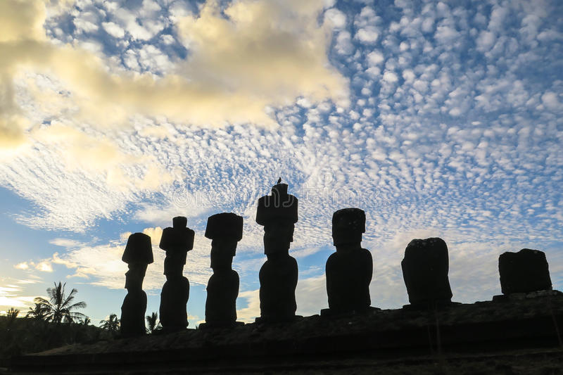 Moai in Easter Island, Chile. This picture is taken in Rapa Nui, Chile. Easter Island Rapa Nui: Rapa Nui, Spanish: Isla de Pascua is a Chilean island in the royalty free stock photos