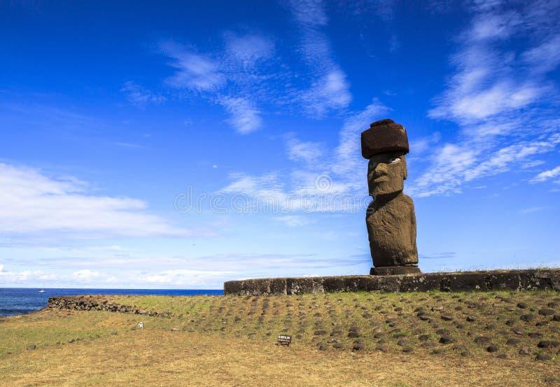 MOAI IN EASTER ISLAND, CHILE stock photo