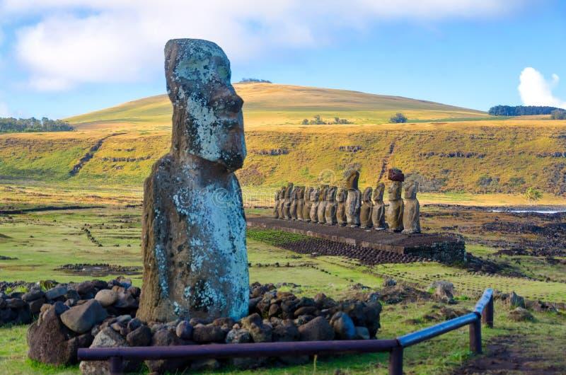 Moai on Easter Island. Several Moai at Ahu Tongariki on Easter Island, Chile stock photos