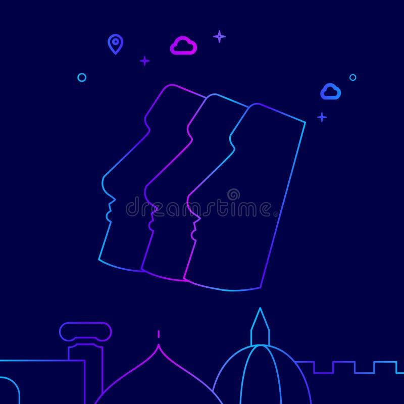 Moai, Easter Island Vector Line Icon, Illustration on a Dark Blue Background. Related Bottom Border royalty free illustration
