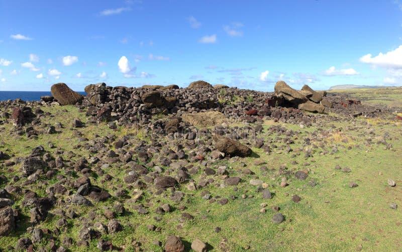 Moai fallen face down royalty free stock photography