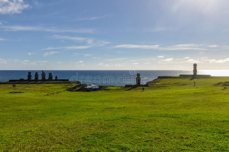 Moai group in Ahu Tahai, Easter Island, Chile royalty free stock images