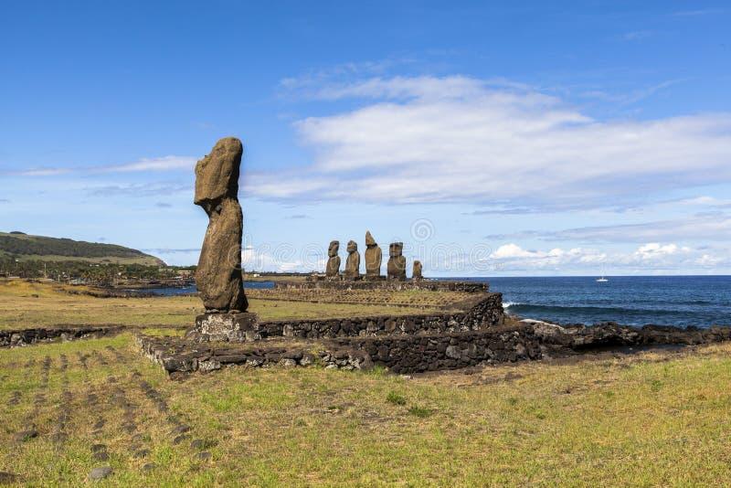 MOAI I PÅSKÖN, CHILE arkivbild