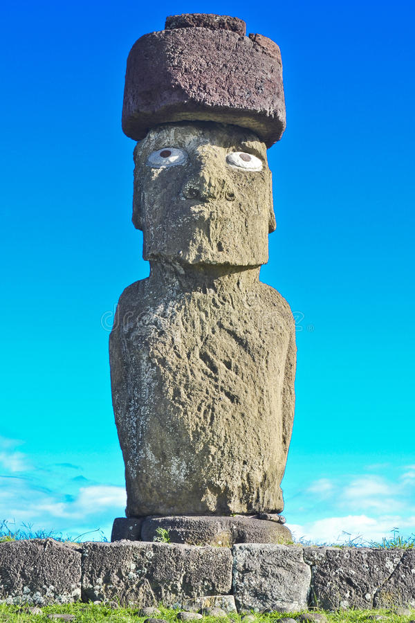 Moai - Monolithic human statues (Chile). Monolithic human statues carved from rock - Moai (between the years 1250 and 1500). Chilean Polynesian island of Easter royalty free stock photo
