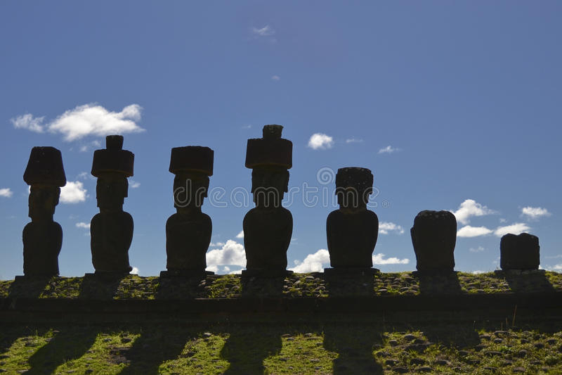 Moai - Monolithic human statues (Chile). Monolithic human statues carved from rock - Moai (between the years 1250 and 1500). Chilean Polynesian island of Easter royalty free stock photography