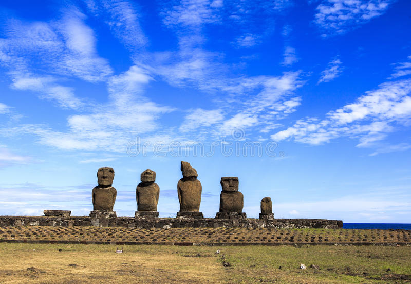 MOAI IN PASEN-EILAND, CHILI stock fotografie