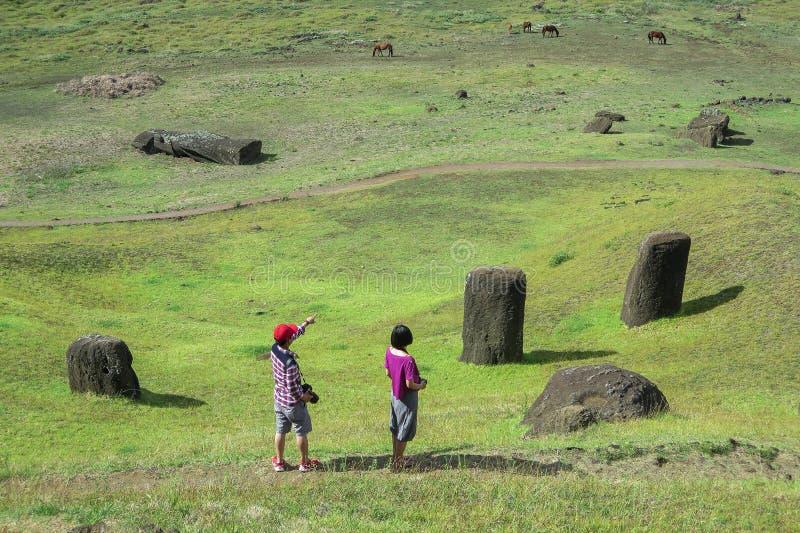 MOAI IN PASEN-EILAND, CHILI stock afbeelding
