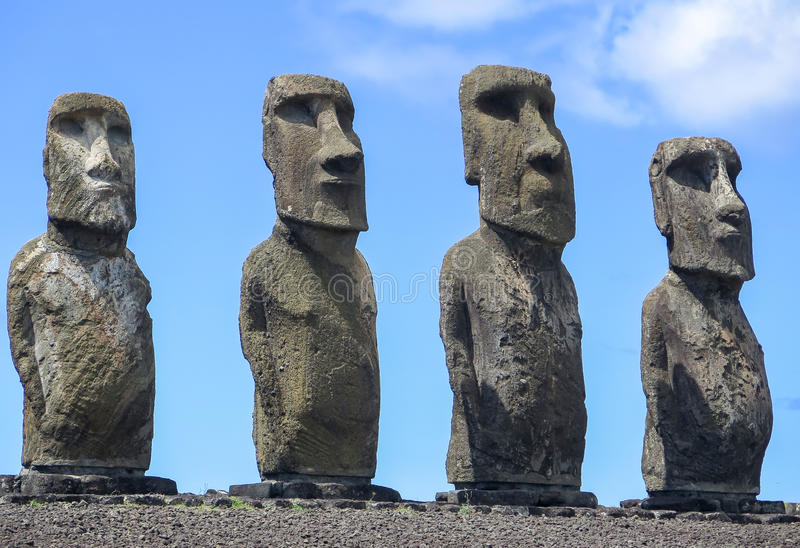 MOAI IN PASEN-EILAND, CHILI stock fotografie