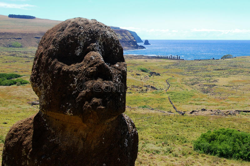 Moai at Rano Raraku Easter Island (Rapa Nui) stock photos