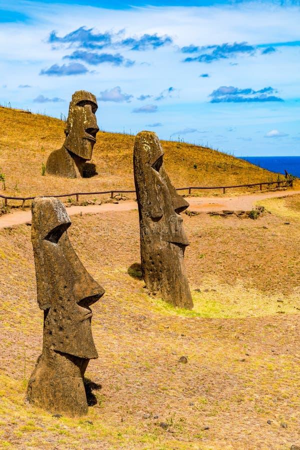 Moai at Rano Raraku on Easter Island. Moai at Rano Raraku in Rapa Nui National Park on Easter Island in Chile stock photography