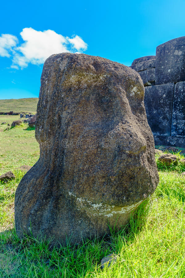 Moai in Rapa Nui National Park. At Easter Island, Chile stock photos