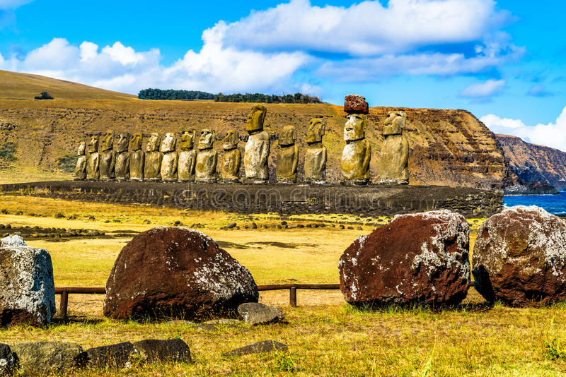 Moai in Rapa Nui National Park. On Easter Island, Chile royalty free stock photo