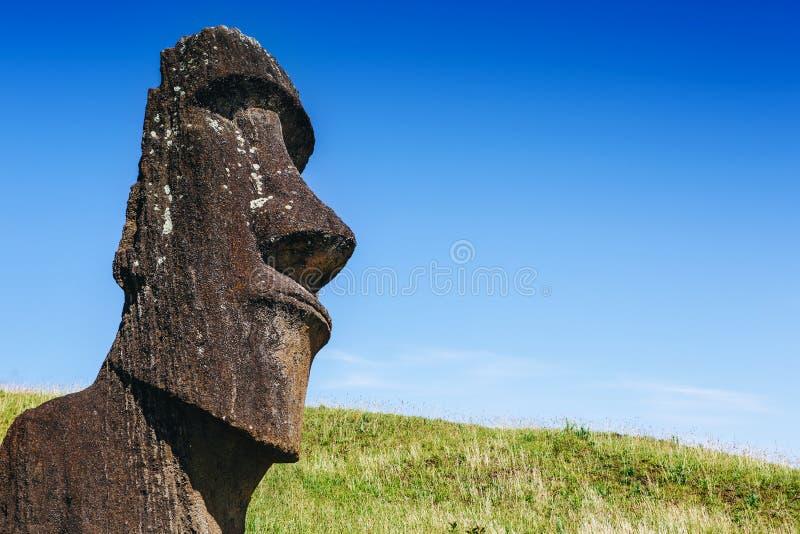 Moai statue in the Rano Raraku Volcano in Easter Island, Chile. Moai statue in the Rano Raraku Volcano in Easter Island, Rapa Nui National Park, Chile royalty free stock photo