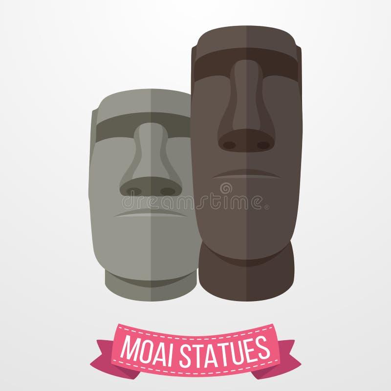 Moai-Statuenikone auf weißem Hintergrund vektor abbildung