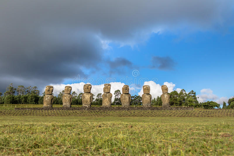 Moai Statues of Ahu Akivi, the only Moai facing the ocean - Easter Island, Chile stock photography
