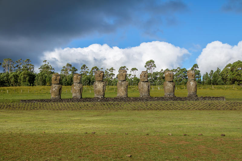 Moai Statues of Ahu Akivi, the only Moai facing the ocean - Easter Island, Chile stock images