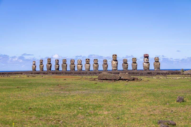 Moai Statues of Ahu Tongariki - Easter Island, Chile royalty free stock photos