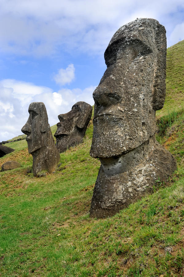 Moai statues on easter island stock image of