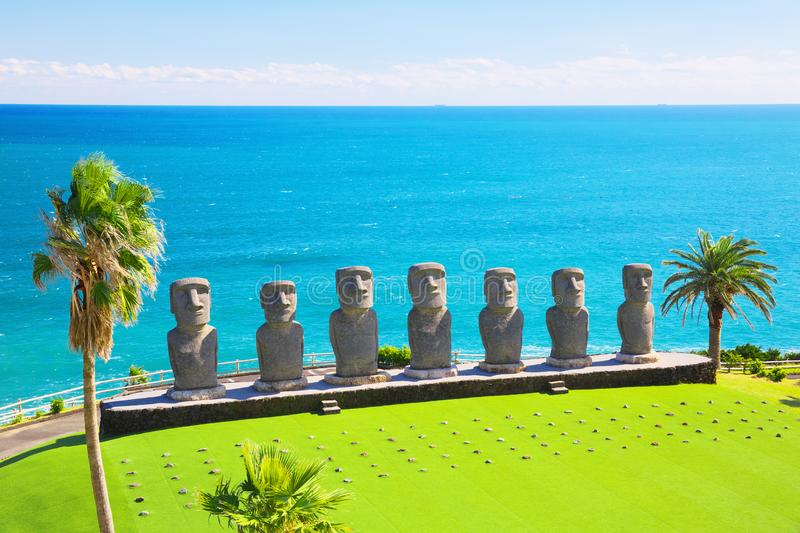 Moai statues in Nichinan, Miyazaki, Japan. They are the only statues in the world which were replicated with the permission from the municipality of Easter stock photos