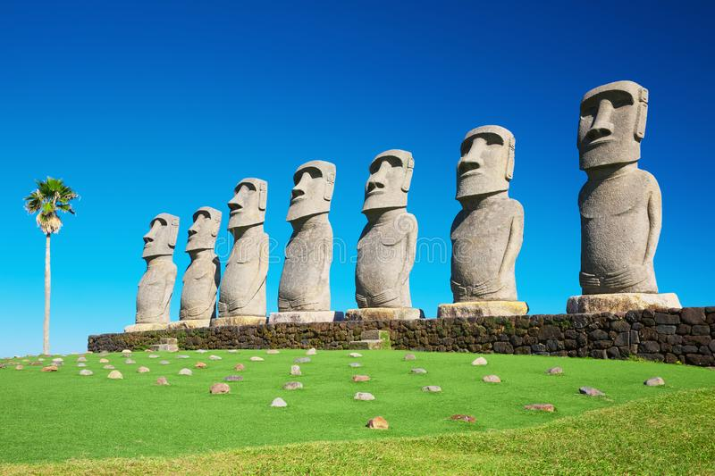 Moai statues in Nichinan, Miyazaki, Japan. They are the only statues in the world which were replicated with the permission from the municipality of Easter royalty free stock images