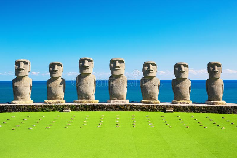 Moai statues in Nichinan, Miyazaki, Japan. They are the only statues in the world which were replicated with the permission from the municipality of Easter stock image