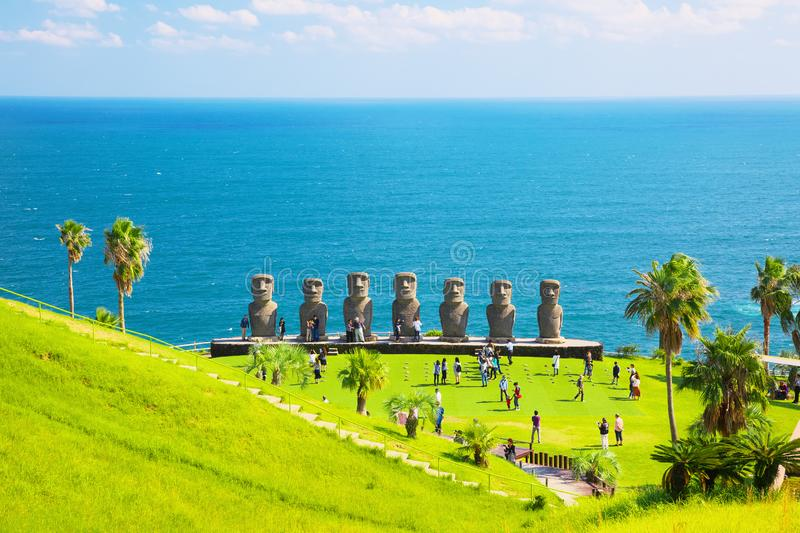 Moai statues in Nichinan, Miyazaki, Japan. They are the only statues in the world which were replicated with the permission from the municipality of Easter royalty free stock image