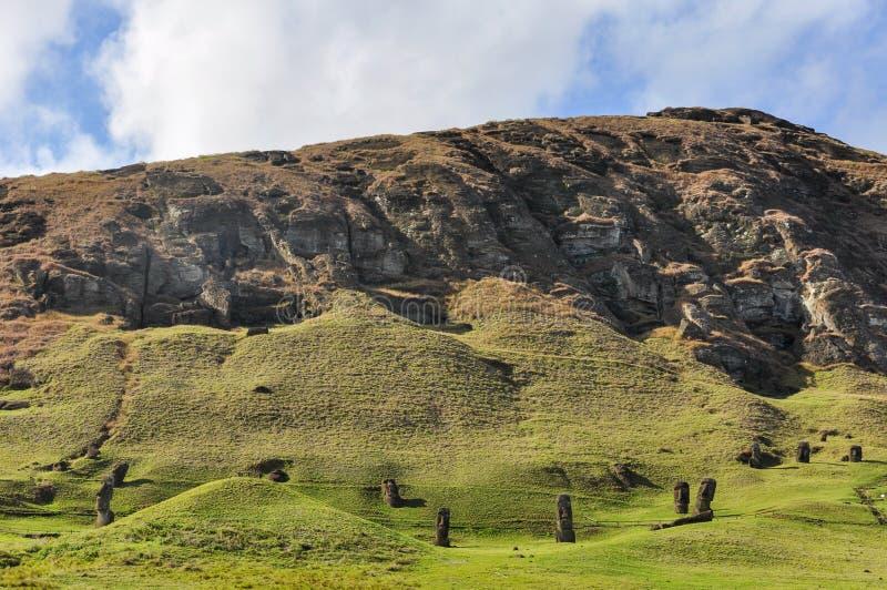 Moai statues in Rano Raraku Volcano, Easter Island, Chile. Moai statues in the Rano Raraku Volcano in Easter Island, Chile stock images