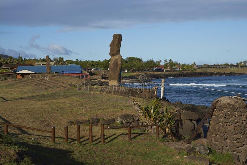 Moai staty, påskö, Chile arkivfoto